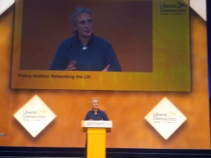 Lucy Care speaking in the banking debate at the Lib Dem Conference in Galsgow, October 2014